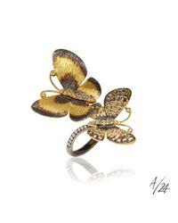 Annoushka - Metallic Butterflies 18ct Gold Diamond Duet Ring - Lyst
