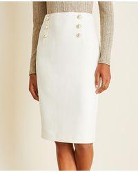 Ann Taylor White Pearlized Doubleweave Sailor Pencil Skirt