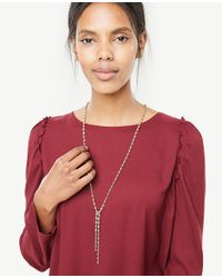 Ann Taylor - Metallic Crystal Lariat Necklace - Lyst