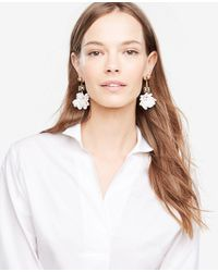 Ann Taylor - White Floral Statement Earrings - Lyst