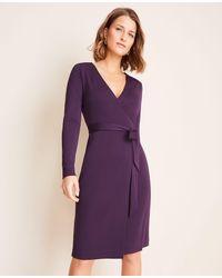 Ann Taylor Purple Petite Matte Jersey Wrap Dress