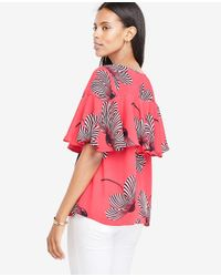 Ann Taylor Pink Petite Makena Floral Tiered Ruffle Top