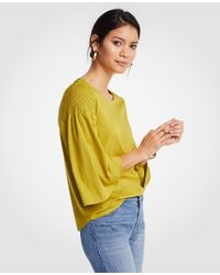 Ann Taylor Yellow Smocked Shoulder Tee
