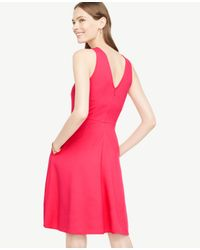 Ann Taylor Pink Pocket Flare Dress