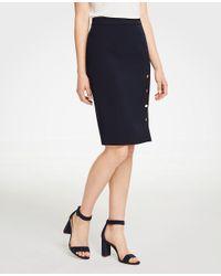 Ann Taylor - Blue Petite Buttoned Pencil Skirt - Lyst
