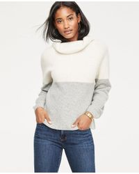 Ann Taylor White Cashmere Colorblock Ribbed Turtleneck Sweater