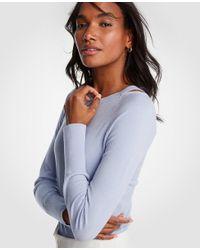 Ann Taylor Blue Shoulder Cutout Sweater