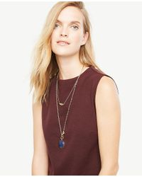 Ann Taylor | Metallic Blue Stone Pendant Layering Necklace | Lyst