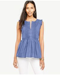 Ann Taylor Blue Embroidered Poplin Shell
