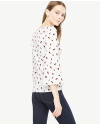 Ann Taylor White Petaled Draped Flare Sleeve Top