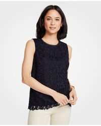 Ann Taylor Blue Floral Lace Shell