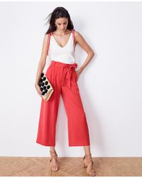 Ann Taylor Red Pleated Wide Leg Crop Pants