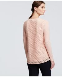 Ann Taylor - Pink Petite Lace Back Jersey Top - Lyst