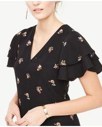 Ann Taylor - Black Petite Tossed Floral Double Ruffle Sleeve Shift Dress - Lyst