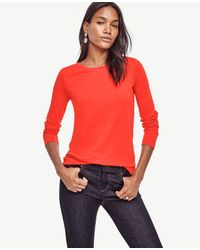 Ann Taylor Red Cotton Long Sleeve Tee