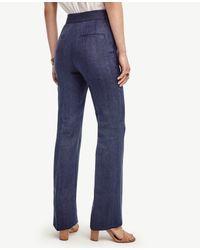 Ann Taylor - Blue Linen Basketweave Flare Pants - Lyst