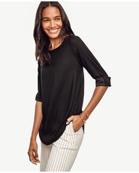 Ann Taylor - Black Crepe Roll Sleeve Top - Lyst