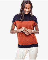 Ann Taylor | Multicolor Colorblock Mock Neck Sweater | Lyst