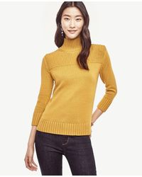 Ann Taylor | Yellow Ribbed Trim Sweater | Lyst