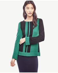 Ann Taylor | Green Colorblock Flare Sleeve Sweater | Lyst