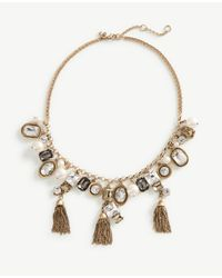 Ann Taylor | Metallic Crystal Tassel Statement Necklace | Lyst