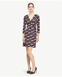 Ann Taylor   Black Petite Wavy 3/4 Sleeve Wrap Dress   Lyst