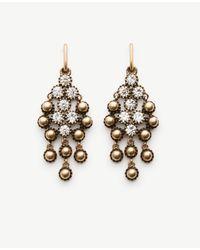 Ann Taylor | Metallic Round Stone Chandelier Earrings | Lyst