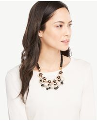 Ann Taylor | Black Rope Fireball Necklace | Lyst