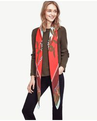Ann Taylor | Red Jungle Cat Scarf | Lyst