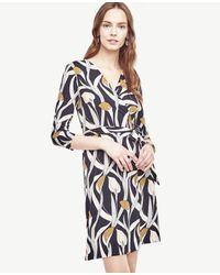 6dff82bae8e Lyst - Ann Taylor Calla Lily 3 4 Sleeve Wrap Dress in Blue