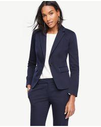 Ann Taylor   Blue Petite Cotton Sateen One Button Jacket   Lyst