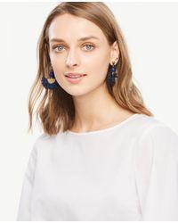 Ann Taylor - Blue Raffia Fan Earrings - Lyst