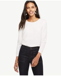 Ann Taylor | White Ponte Puff Sleeve Top | Lyst