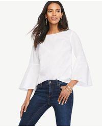 Ann Taylor | White Petite Fluted Sleeve Poplin Shirt | Lyst