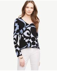 Ann Taylor | Multicolor Tulip V-neck Sweater | Lyst