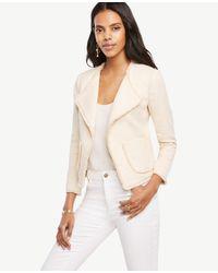 Ann Taylor | Natural Petite Textured Fringe Trim Jacket | Lyst