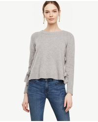 Ann Taylor | Gray Wool Cashmere Side Tie Sweater | Lyst
