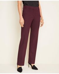 Ann Taylor Red The Straight Pant In Twill Flannel - Curvy Fit