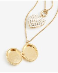 Ann Taylor - Metallic Pearlized Heart And Locket Layering Necklace - Lyst