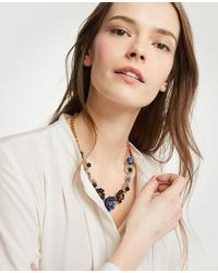 Ann Taylor - Multicolor Enamel Flower Statement Necklace - Lyst