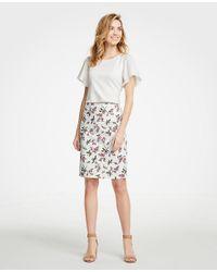 Ann Taylor White Petite Floral Pencil Skirt