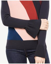 Ann Taylor Blue Colorblock Ruffle Cuff Sweater