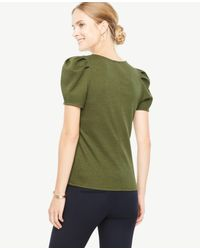 Ann Taylor - Green Puff Sleeve Top - Lyst