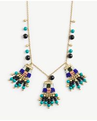 Ann Taylor | Metallic Variegated Seed Bead Statement Necklace | Lyst