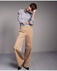 Ann Taylor Gray Petite Stripe Ruffled Popover Blouse