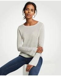 Ann Taylor - Gray Split Sleeve Pearlized Trim Sweater - Lyst