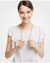 Ann Taylor - Metallic Clover Station Necklace - Lyst