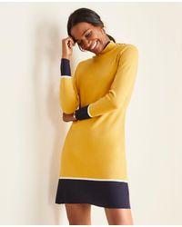 Ann Taylor Yellow Colorblock Mock Neck Sweater Dress