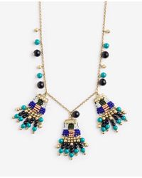 Ann Taylor Metallic Variegated Seed Bead Statement Necklace