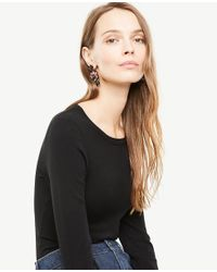 Ann Taylor - Black Embroidered Statement Earrings - Lyst